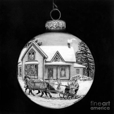 Drawing - Sleigh Ride Ornament by Peter Piatt