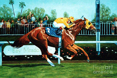Handicapped Painting - Slew Of Damascus Winning The Bay Meadows Handicap by Tom Chapman