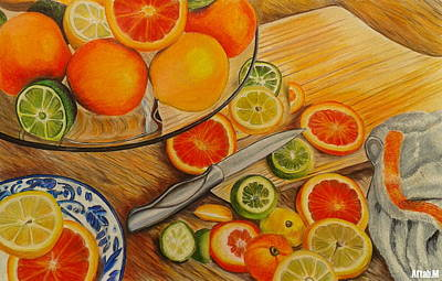 Table Cloth Drawing - Slice Of A Citrus by Aftab M
