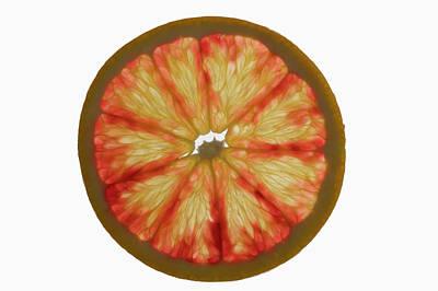 Slice Of Grapefruit, Backlit Art Print