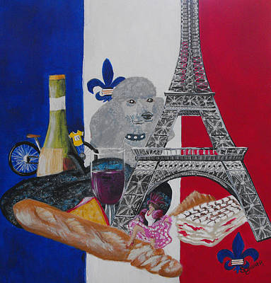 Fleurs De Lis Bicycle Painting - Slice Of Paris by Susan Bruner