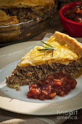 Beef Photograph - Slice Of Tourtiere Meat Pie  by Elena Elisseeva