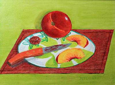 Art Print featuring the painting Sliced Peach by Melvin Turner