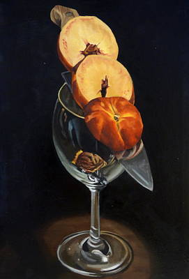 Painting - Sliced Peach by Rick Liebenow