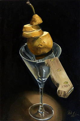 Painting - Sliced Pear by Rick Liebenow