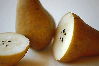 Photograph - Sliced Pears by Michael Moschogianis