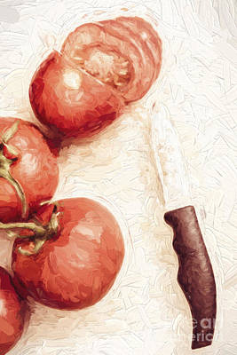 Digital Art - Sliced Tomatoes. Vintage Cooking Artwork by Jorgo Photography - Wall Art Gallery