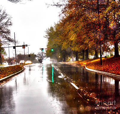 Art Print featuring the photograph Slick Streets Rainy View by Lesa Fine