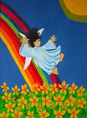 Angel Blues Mixed Media - Sliding Down Rainbow by Pamela Allegretto