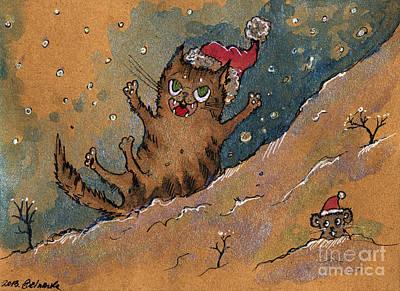 Fun Cats Drawing - Sliding Down The Hill by Angel  Tarantella