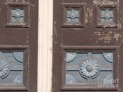 Photograph - Slightly Imperfect Double Doors. 19th Century Wood Carving by Connie Fox