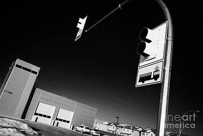 slimmon road fire station and fire engine stop sign Saskatoon Saskatchewan Canada Print by Joe Fox