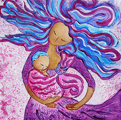 Painting - Sling Dance Motherhood Babywearing Dance Artwork by Gioia Albano