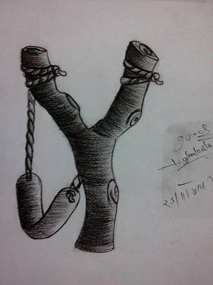 Slingshot Drawing - Slingshot by Nitin kumar Jangid