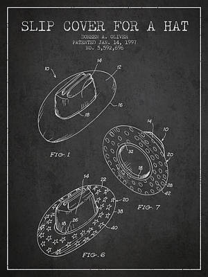 Slip Cover For A A Hat Patent From 1997 - Charcoal Art Print