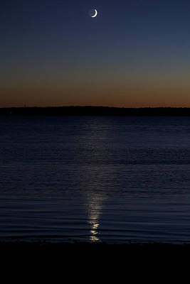 Photograph - Sliver - A Crescent Moon On The Lake by Jane Eleanor Nicholas