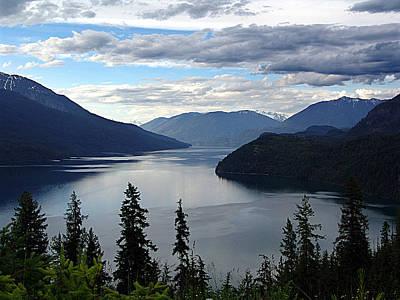 Mountain Valley Mixed Media - Slocan Lake Looking North by Janet Ashworth