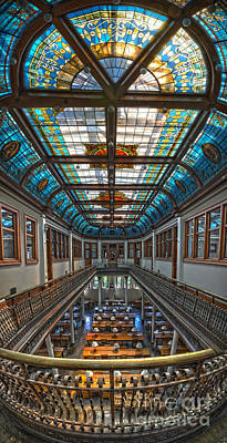 Slocum Hall Romanesque Arcade And Stained-glass Skylight Ohio Wesleyan University Art Print by Brian Mollenkopf