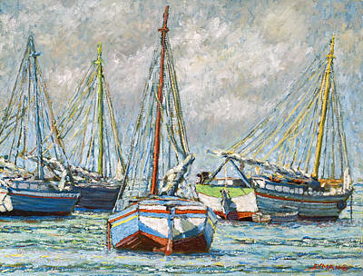 Painting - Sloops At Rest by Ritchie Eyma