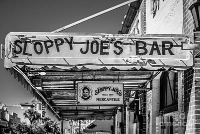 Sloppy Joes Bar Photograph - Sloppy Joe's Bar Canopy Key West - Black And White by Ian Monk