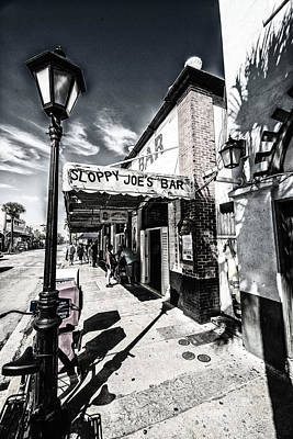 Black Photograph - Sloppy Joe's by Kevin Cable
