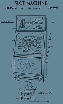 Rich Blue Digital Art - Slot Machine Patent On Blue by Dan Sproul
