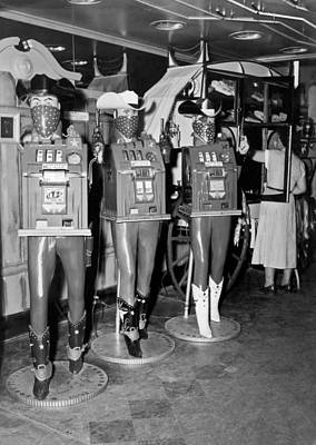 Cowboy Hat Photograph - Slot Machines In Nevada by Underwood Archives