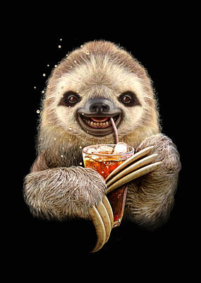 Sloth And Soft Drink Art Print by Adam Lawless