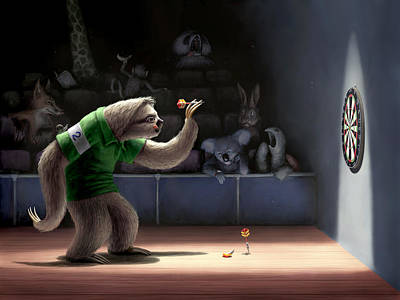 Print featuring the digital art Sloth Darts by Ben Hartnett