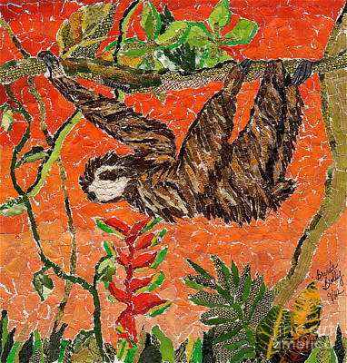 Mosaic-collage Mixed Media - Sloth Just Hangin  by Brenda Brolly