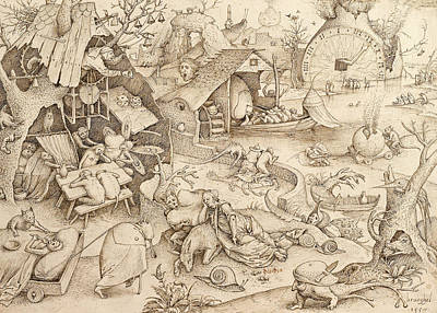 Sloth Pieter Bruegel Drawing Art Print by