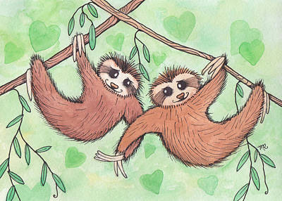 Sloth Painting - Sloth Valentines by Melissa Rohr Gindling
