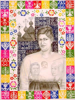 Ancestor Art Mixed Media - Slovak Grandmother by Diana Perfect