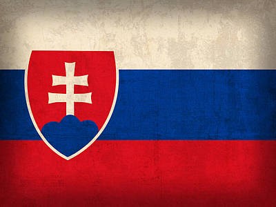 Slovakia Flag Vintage Distressed Finish Print by Design Turnpike