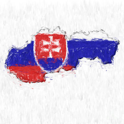 Impressionism Photos - Slovakia Painted Flag Map by Antony McAulay