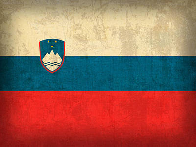 Flag Mixed Media - Slovenia Flag Vintage Distressed Finish by Design Turnpike