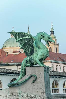 Slovenia, Ljubljana, Dragon Bridge Art Print