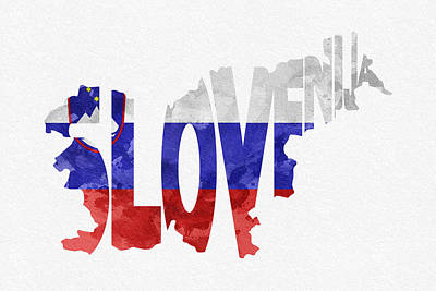 Slovenia Typographic Map Flag Print by Ayse Deniz