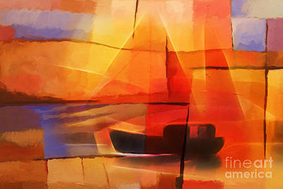 Red Abstract Art Mixed Media - Slow Boat by Lutz Baar