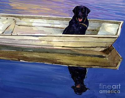 Labrador Retriever Wall Art - Painting - Slow Boat by Molly Poole