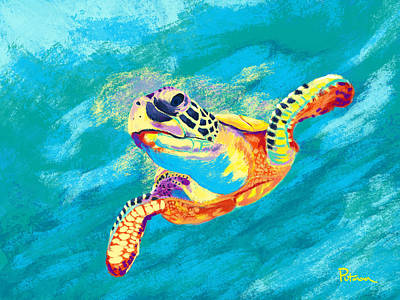 Ocean Turtle Digital Art - Slow Ride by Kevin Putman