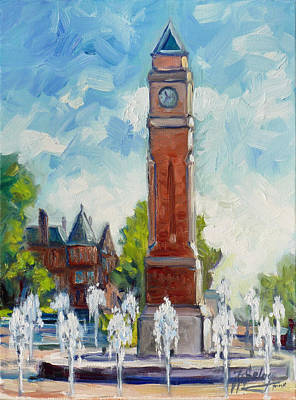 Saint Louis Painting - Slu Clock Tower 1 by Irek Szelag
