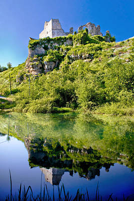Photograph - Slunj Fortress Ruins River Reflection by Brch Photography
