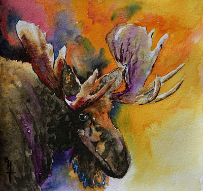 Bucking Bull Painting - Sly Moose by Beverley Harper Tinsley