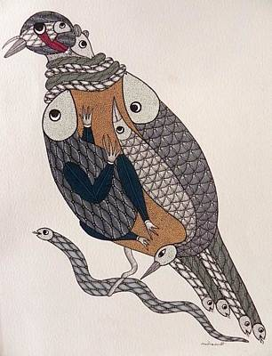 Gond Artist Painting - Sm 016 by Santosh Marabi