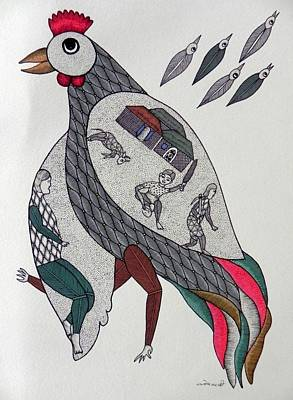 Gond Tribal Art Painting - Sm 12 by Santosh Marabi