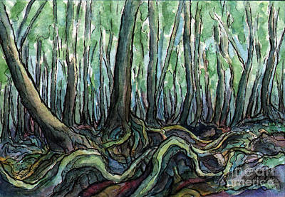 Tree Roots Painting - Sm005 Creepy Forest by Kirohan Art
