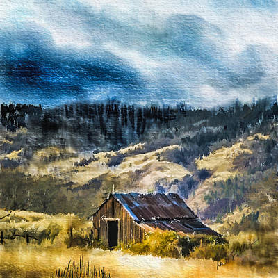 Digital Art - Small Barn In The Hills by Dale Stillman