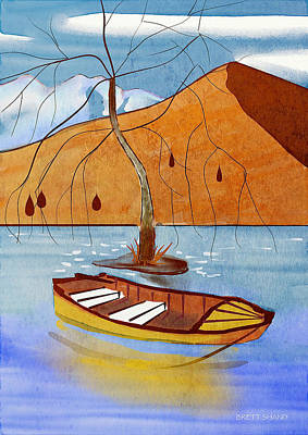 Digital Art - Small Boat On Lake Water by Brett Shand
