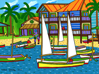 Small Boat Regatta - Cedar Key Art Print